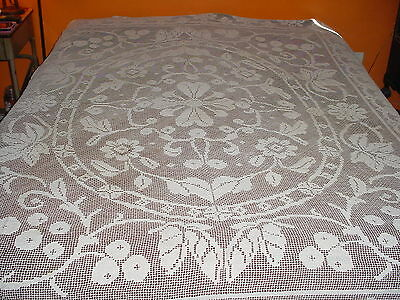 Antique Crochet Bedspread Coverlet Table Cloth  91 X 72""