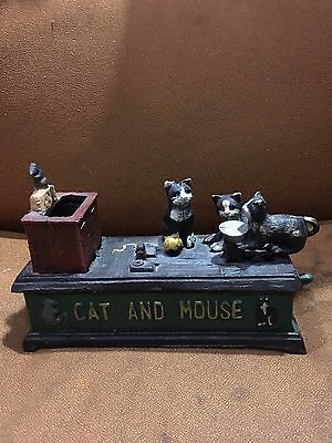 Cat and Mouse mechanical cast iron Coin Piggy Bank
