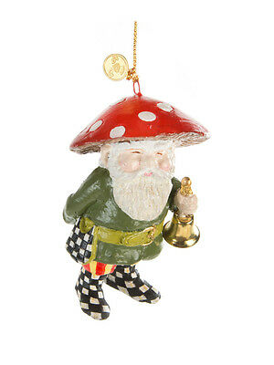Mackenzie Childs HOME SWEET GNOME Garden ORNAMENT- BELL Courtly Check NEW $48