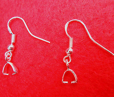 DIY Design 20-100X 925 Sterling silver Pinch Bail Earring French Ear Wires Hooks