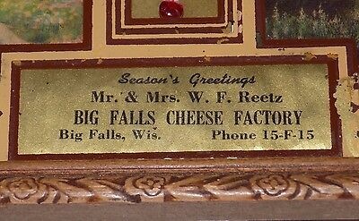 Vtg AdverTising ThermomeTer BiG FALLS WisconsiN CHEESE FacTorY Mr Mrs REETZ XMAS