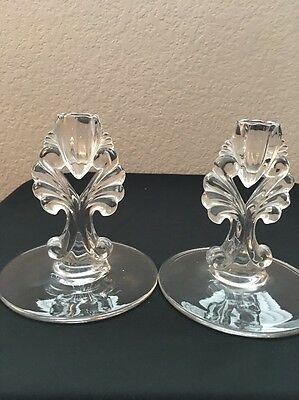 Vintage Glass Pair Of Candlesticks (2)