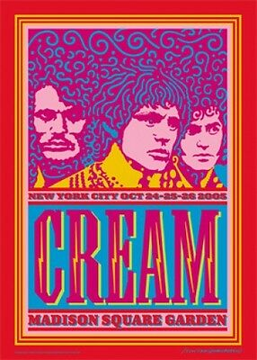 "Cream HANDBILL Clapton Madison Square Garden John Van Hamersveld 5"" X 7"" Inches"