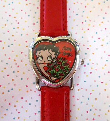Betty Boop Wrist Watch Heart Face Red Adjustable Buckle