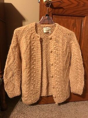 Vintage 1960s Ladies Hand Knit in ITALY Cable Knit Mohair Cardigan Sweater