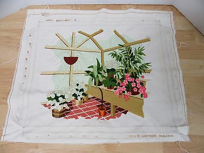 Finished Sunset Crewel Embroidery Garden Greenhouse Almost Complete 16x20