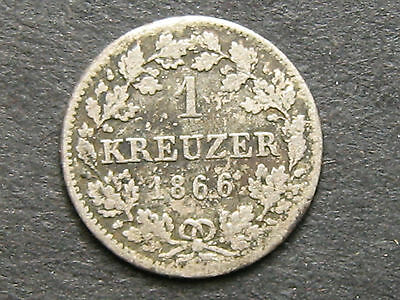 1866 Germany Bavaria - 1 Kreuzer Silver Coin KM#873