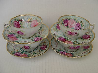 Vintage Set Of 4 Beautiful Hand Painted Cups And Saucers Pink Roses And Gold