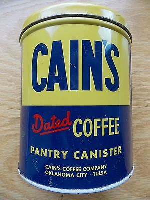 Antique Cain's Coffee Pantry Canister Tin Can Oklahoma City, Tulsa Vintage