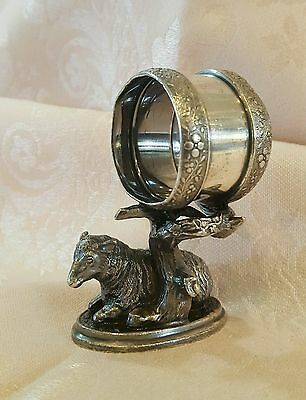 Victorian 1800s Reed & Barton ornate silverplated figural sheep napkin ring