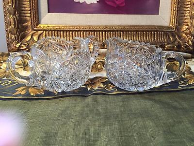 Stunning  Clearheavy Cut Crystal Open Sugar And Creamer Set