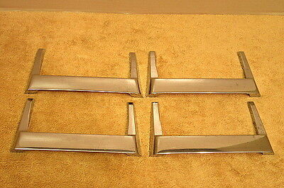 4 Vintage Mid Century Modern Chrome Furniture Drawer Handles Pulls Atomic