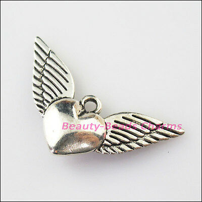 6Pcs Antiqued Silver Tone Smooth Heart Wings Charms Pendants 18x34mm