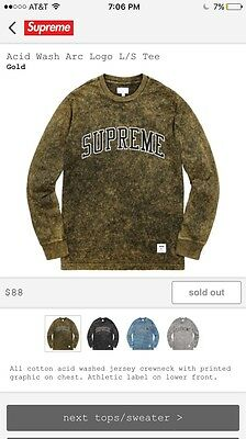 Supreme Acid Wash Logo L/S Tee Box Logo *Brand New*. (In Hand) SOLD OUT Sz. M