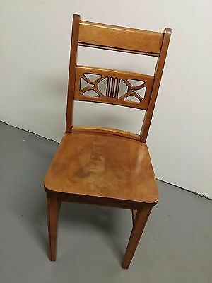 Vintage S BENT BROS Solid Oak Wheat Back Dining Side Chair