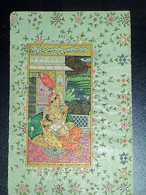 Early 19th c. Persian/Mughal Manuscript Leaf with Painting - Signed