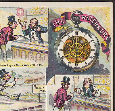 1800's Waterbury Watch Jerome Park Horse Racing Jewelry Comic Advertising Card