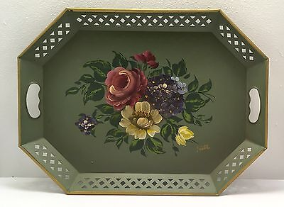 NASHCO GREEN HAND PAINTED  FLOWERS ROLE TRAY WITh reticulated edge