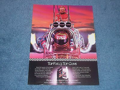 "1989 Valvoline Motor Oil Vintage Ad Top Fuel's Top Guns"" Joe Amato Tim Richards"