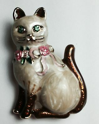 SIAMESE CAT PIN PENDANT Painted Enamel Gold Plated Rhinestone STUNNING NEW
