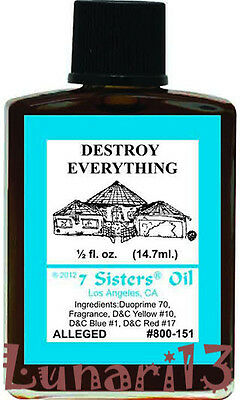 Destroy Everything, Oil, 7 Sisters, 1/2oz, Lunari13, Wicca, Santeria, Brujeria