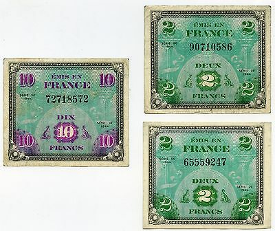 Wwii-French Francs-1944 Series-2 Franc And 10 Franc Notes