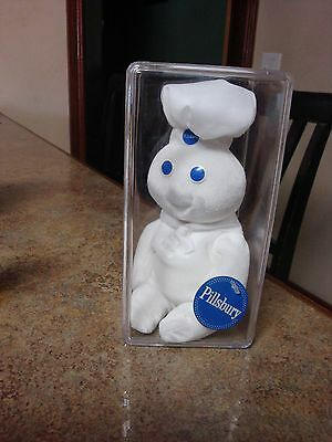 """vtg Giggling Pillsbury Doughboy Doll W/Tag 8"""" Applause In Acrylic Case  1999"""