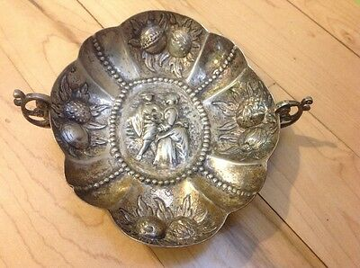 Sterling Silver Repousse Bowl / Dish Gorgeous Fruit and Lovers On A Stroll