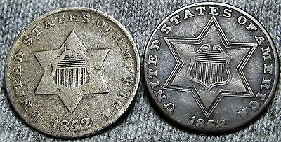 1852 + 1858 Silver Three Cent Pieces 3cp --- TYPE COINS Lot ---   #N698