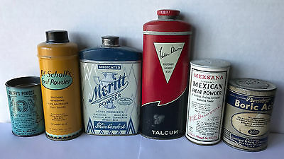 Lot of 6 Vintage Collectible Medical Powder Tin Containers