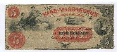 1865 BANK OF WASHINGTON North Carolina Obsolete 5 dollar Note ISSUED ! CR5 Fine