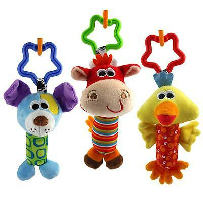 Cartoon Animal Baby Rattle Tinkle Hand Bell Toy Plush Accessories Gift Funny CB