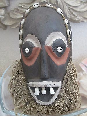 Vintage African Hand Carved Wooden Mask with Real Teeth  Kenya