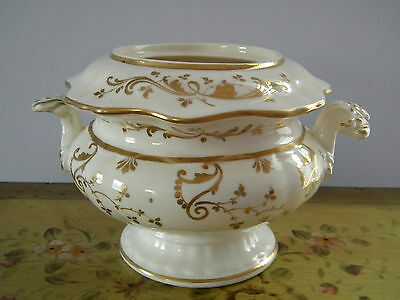 Antique China Compote Serving Bowl with Gold Gilt Design