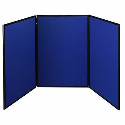 Quartet Show-It! 3-Panel Display System, 6 x 3 Feet, Double-sided, Blue/Gray