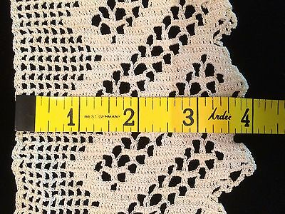 "2 Yards Antique Lace Flounce Trim Edging Crochet 4"" Wide Primitive Early"