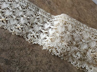 "42"" Antique Lace Doll Hearts Flounce Trim Auth Dolls Costume Salvage"