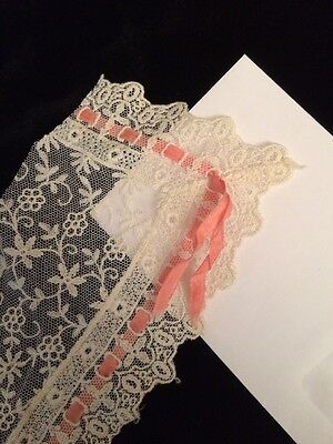 Antique Chemical Lace Pink Ribbon Salvage Frill Dolls Trim Costume Doll Bonnets