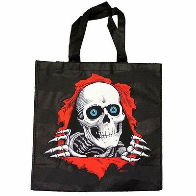 "Powell Peralta RIPPER Canvas Tote Shopping Bag BLACK LARGE 15.5""x 15.5""x 6"""