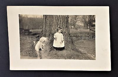 antique BABY CHILD real photo RPPC with DOG adorable victorian b/w