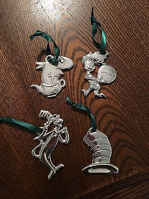 Dr Seuss The Cat in the Hat Christmas Ornaments 4 Silver Plated