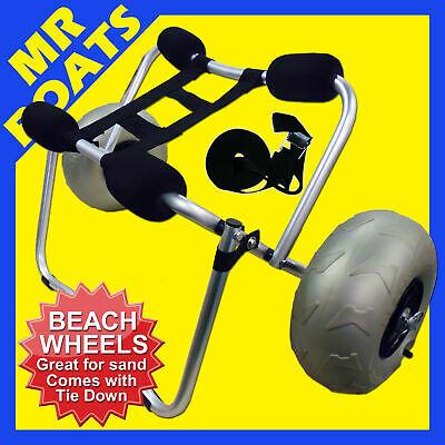 BEACH KAYAK / SUP TROLLEY COLLAPSIBLE Alloy Canoe Ski Carrier Sand Wheels 100kg