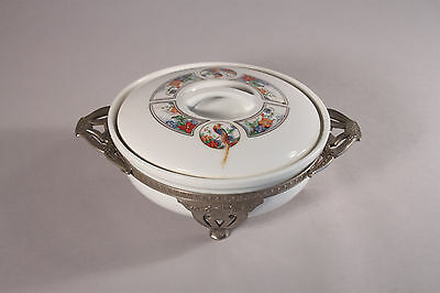 Antique Art Deco Baking Dish w Silverplate Frame Royal Rochester Golden Pheasant
