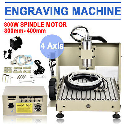 4 Axis 800W 3040T Cnc Router Engraver Engraving Cutting Milling Machine Drilling