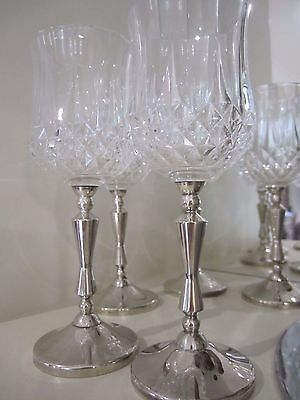 6 x Vintage Crystal & Silverware Goblets A1 Silver coated on Copper