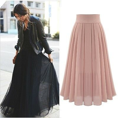Women Chiffon Long Skirt New Fashion Bohemian Beach Pleated Skirt  New