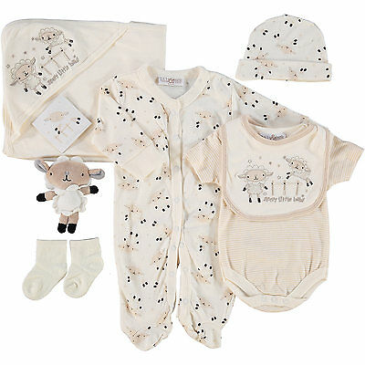 Baby Neutral Sheep Farm 7 Piece Layette Clothing & Toy Gift Set by Lily & Jack