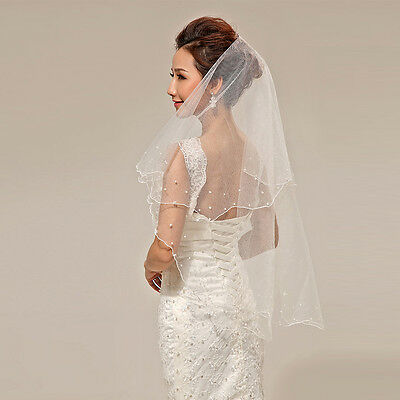 Women Lady Ivory Pearl Satin Edge Double Layers 2 Tiers Bridal Wedding Veil New