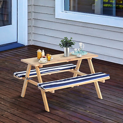 Qaba Kids Wooden Picnic Table Bench Set Patio Play Chairs Combo w/ Seat Cushion