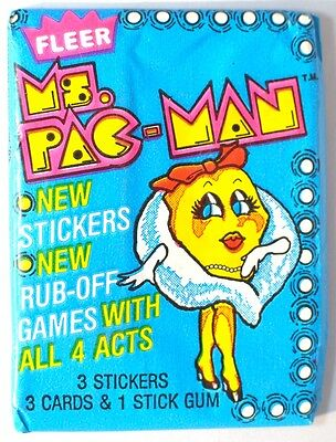 RARE Fleer MS PAC-MAN (Pacman) Rub-Off Cards & Stickers Unopened Wax Pack (1981)